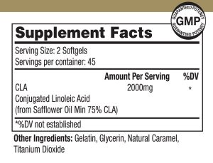 CLA Supplement Nutritional Label NRMWL