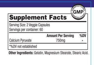 Calcium Pyruvate Supplement Nutritional Label NRMWL