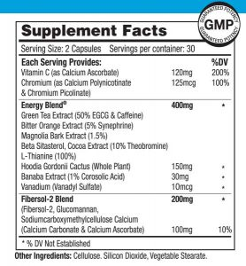 TrimSlim Supplement Nutritional Label NRMWL